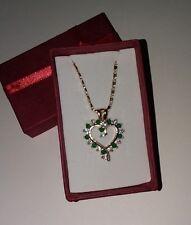 Women's Simulated Emerald & Diamond Open Heart Pendant Gold Plated NWOT (D)
