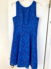 Yoana Baraschi Size 8 Fit & Flare Knee Length Royal Blue Dress