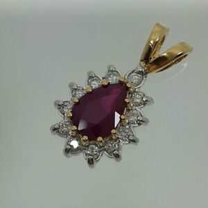 Ruby and Diamond Pendant in 9ct Gold