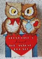 Vtg Owl Valentine Moves eyes wing & tie I don't give a hoot for anyone but You!