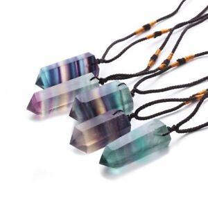 Natürlicher Fluorit Quarz Kristall Anhänger Halskette Punkt Heilstein Edelsteine