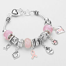 Breast Cancer Awareness Bracelet SlidingMulti Bead Love Heart Pink Ribbon SILVER