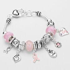 Pink Ribbon Bracelet Charm Bracelet Love Heart SILVER Breast Cancer Awareness