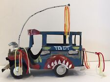 Vintage Folk Art Philippines Hand Made Painted Tin Toy Truck Bus
