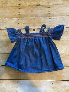 Cat Jack Girls 5T Blue Shirred Off Shoulder Neckline Smock Summer Denim Top