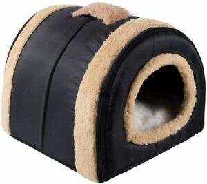 Cat and dog pet bed plush dog bed cat bed (S: 35x30x28 cm, black) reusable