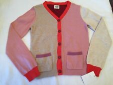 Girls MINI BODEN Sz 7-8y Pink Tan Plum Color Block l/s Sweater Cardigan ~NWT~