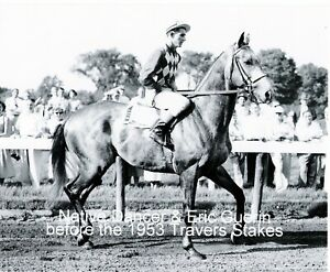 """1953 - NATIVE DANCER in the Travers Stakes Post Parade at Saratoga - 10"""" x 8"""""""