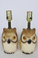 Vintage Pair Mid Century Small Painted Chalkware Owl Electric Table Lamps Retro