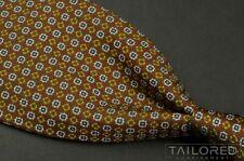 "ERMENEGILDO ZEGNA Brown Geometric 100% Silk Mens Luxury Tie - 3.50"""