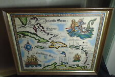 * WEST INDIES MAP IN FRAME OLD CARIBBEAN PIRATE STYLE NICE GRAPHICS & MERMAID *