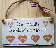 """PERSONALISED GIFT family Heart plaque 6X3"""" Any Names Wooden Shabby Chic Handmade"""