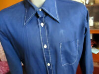 MEDIUM True Vtg 70's SHINY DARK REVERSE STITCH BLUE BIG COLLAR DRESS SHIRT USA
