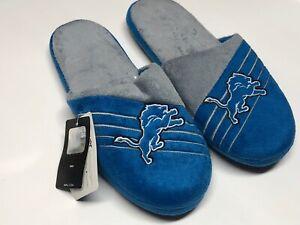 NFL Men's Detroit Lions Logo Slippers - Blue / Grey