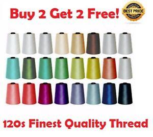 Buy 2 get 2 Free 70+ Colours 5000 YARD OVERLOCKER SEWING MACHINE THREAD 120s