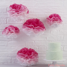 Pink Paper Pom Poms x 5 - Baby Shower / Party Decoration