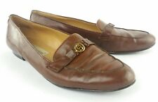 ETIENNE AIGNER Womens Size 8 N Brown Leather Loafers Flats Slip Ons Goldtone