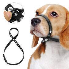 Adjustable Leather Dog Muzzle for Bark Bite Halter Loop for Medium Large Dog S-L