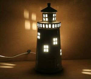 Cream Ceramic Lighthouse Lamp Nautical Coastal Table Desk Bedside Lamp