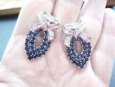 LQQK Estate Stunning 18K White GOLD Sapphire & Diamond Drop Earrings exquisite
