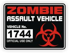 Zombie Assault Vehicle License Vinyl Decal / Sticker License Label Permit twd