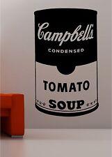 Andy Warhol style soup tin pop art wall art quote sticker vinyl kitchen lounge