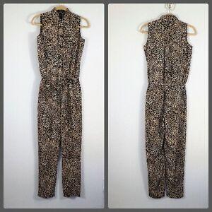 Lauren Ralph Lauren animal print jumpsuit size 2 women's sleeveless pockets