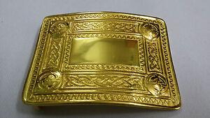 Celtic Swirl Kilt Belt Buckle 4 Dome Mirror Design Gold Plated Scottish Buckles