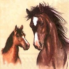 Two (2)  Horses, Paper Luncheon Napkins for Paper Crafts and Decoupage