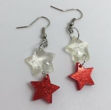 Double Clear And Red Small Star Glitter Acrylic Earrings G110 Kitsch 5.2 cm Long