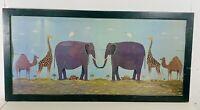 """LARGE 36"""" Warren Kimble TWO BY TWO Elephants Giraffes Framed Wood Print Folk Art"""