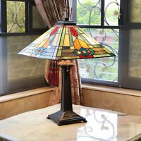 Tiffany Style Antique Bronze Finish Mission Stained Glass Accent Table Lamp