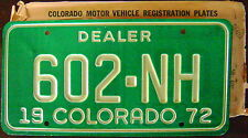 1972 COLORADO DEALER LICENSE PLATE # 602-NH