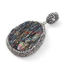 1x Natural Druzy Colorful Coal Crystal Silicon Carbide Inlay Rhinestone Pendants