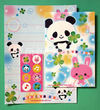 Japanese Letter Set: Happy Panda & Kawaii Bunny with Lucky Clover Charms