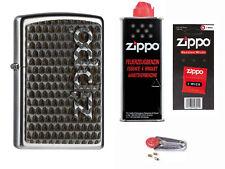 Zippo Secret Logo Emblem + Starter Pack mit Benzin,Docht,Feuersteine Neu