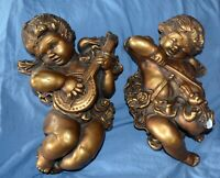 Vintage 2 Gold Plaster Chalkware Cherub Angel Wall Plaque Hanging Musician