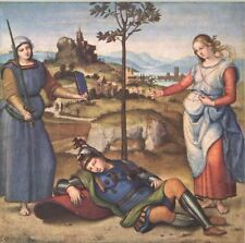 """1960 Art Print """"The Vision Of A Knight"""" By Raphael Italian Artist"""