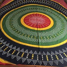 INDIAN 100% COTTON DOUBLE SIZE RED BLACK, GREEN BANDHANI PRINT BEDSPREAD / THROW