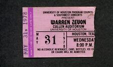 1978 Warren Zevon Concert Ticket Stub Houston Texas Werewolves of London