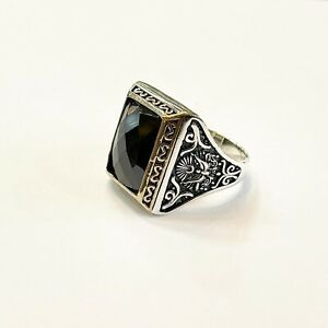 Heavy 925 Sterling Silver Ring Turkish Ring Mens Ring Black Stone Size W-Z