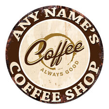 CP-0091 ANY NAME'S COFFEE SHOP Custom Personalized Chic Tin Sign Decor Gift Idea