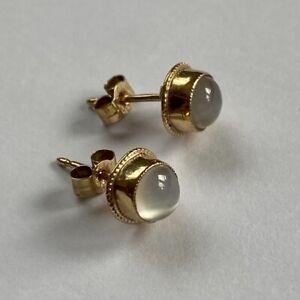 Vintage 9ct Gold Moonstone Stud Earrings Boxed Fully Hallmarked