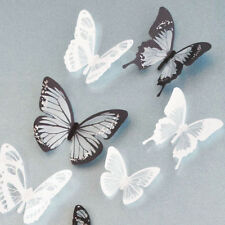 18pcs 3D Black White Butterfly Crystal Wall Stickers Decals Xmas Art Home Decor