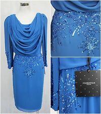 Pronovias Kleid Abendkleid Ragussa blau Gr. 38 M Pailletten Wasserfall edel I242