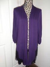Catherines Purple Gray Ruched Sleeves Open Drape Cardigan Jacket SZ 1X (18/20W)