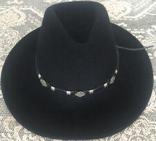Large Black Harley Davidson Cowboy Hat Very Good