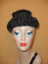"""Little Black Cocktail Hat"" in Black Raffia w/ Grosgrain Trim by Schiaparelli"