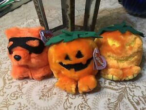 Vintage 90's Puffkins Plush Limited Edition w/ Tags Halloween Lot Smash Gourdy +