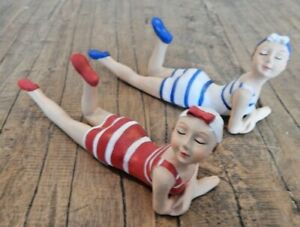 Beach girl lady ornament figurine in 2 styles Red or Blue Nautical seaside fun